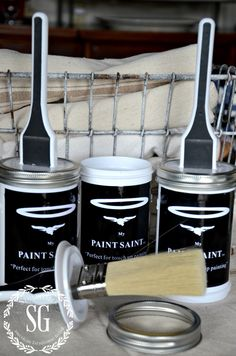 The Paint Saint - store paint in a sealed can with brush for easy paint touch ups.  The paint doesn't oxidize, congeal or change color because of a silicone gasket that creates a hermetic seal. There's a ledge on the inside of the can to remove excess paint. Has a high quality synthetic brush that you don't need to clean between touch-ups. The closing lid on top screws onto the bottom of the jar while you use it, so you never lose it.
