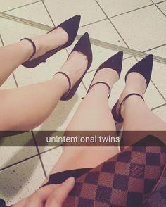 #sisterfromanothermister #matching #heels #myfeethurt #twins #unintwintional #onlineshopping #shoegame #fashion #legs