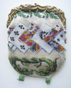 Circa 1830 figural playing cards beaded purse. From the collection of Lori Blaser.