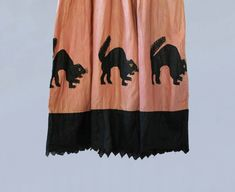 56f9a0f82270 RESERVED Rare! Antique Halloween Costume   1920s Cotton Halloween Dress    Black Cat Appliques!   Two Tone
