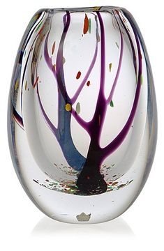 A Vicke Lindstrand 'Autumn' glass vase by Kosta 1950's-60's.