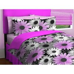 Photo Real Vibrant Daisies Flower Floral Dark Pink Fuschia Grey White Comforter Bedding Set TWIN by Project 101