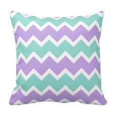 Purple Aqua Blue Chevron Throw Pillow Baby Girl Nursery #decampstudios