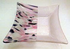 Fused Glass Bowl Pinks and Purples Dinning and by Smokeylady54
