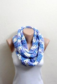 blue white lilac knit infinity scarf multicolor circle scarf