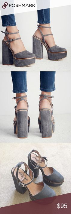 Twin Sundown Platform sandals in Gray Twin Sundown Platform sandals in Gray by Free People.  Like Jeffrey Campbell, Unif, Steve Madden. Made with beautiful Spanish craftsmanship, seventies inspired suede platforms feature a rounded toe and two adjustable ankle straps. Size 38 which translates to 8 on posh but I think it fits more like a 7 or 7.5 so listed as such. FYI I am a size 7 and it fits great. Free People Shoes Platforms