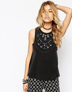 ASOS | ASOS Vest with Acid Wash and Embellishment at ASOS