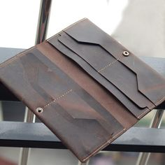 Handmade Men's Long Leather Wallet Money Purse Card Holder A05