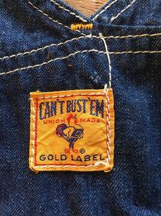 Vintage Can't Bust Em Denim Jean Overalls Gold Label Union Made! magnolia_dawn #CantBustEm