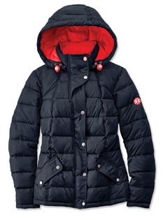 Made to conquer the worst weather winter can deliver, this ultra-warm Barbour jacket for women is filled with lofty yet lightweight innovative microfiber fill to keep you snug, dry, and thoroughly insulated against the cold. Channel quilted for enhanced warmth, this stylish jacket is shaped with princess seams for a feminine fit. High stand collar protects from drafts. Snap storm flap covers rugged two-way zip. Removable hood with elasticized drawcord. In navy. Polyester outer; polyamide…