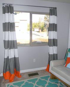 schue love: DIY West Elm Curtain Rod & Striped Curtains
