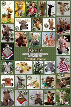 Deer Part 1 (toys, softies and loveys) - Animal Crochet Pattern Round Up via @beckastreasures