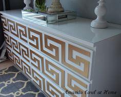 Amanda Carol at Home: Ikea Malm Dresser Goes Glam (O'Verlays Greek frets used to transform/hack Ikea Malm dresser)