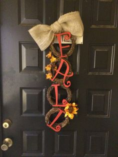 Non-traditional Fall Wreath/Door Hanging 4 mini-grapevine wreaths, wood letters, burlap for bow, craft wire/hot glue to hold together Fall Home Decor, Autumn Home, Diy Home Decor, Wreath Crafts, Wreath Ideas, Fall Halloween, Halloween Crafts, Fall Crafts, Diy Crafts