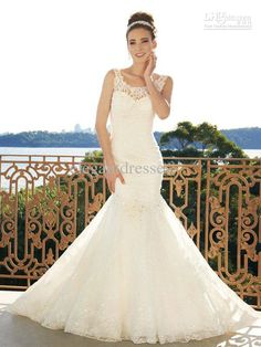 Wholesale 2013 Attractive Exquisite Mermaid Spaghetti Lace Wedding Dresses with Applique Beads Crystal, $180.32-188.16/Piece | DHgate
