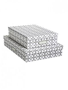 We love these pretty Synchronicity Stockholm Office Storage Boxes from The Container Store