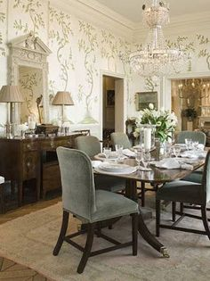 Hand Painted Climbing Vines Ascend The Walls In This Beautiful Dining Room  By Phoebe Howard. Gorgeous Crystal Chandelier Adds Sparkle Without Blocking  The ...