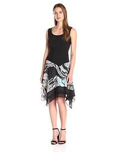 MSK Womens Asymmetric Knit to Woven Skirt Dress BlackIvoryTeal Medium >>> Be sure to check out this awesome product. (This is an affiliate link) Dress For Short Women, Summer Dresses For Women, Short Dresses, Dresses For Work, Women's Dresses, Asymmetrical Skirt, Classy Dress, Women's Fashion Dresses, Dress Skirt