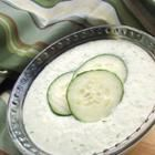 Tzatziki Sauce. Made from cucumbers, yogurt, olive oil, lemon, dill and garilic. Great for gyros or greek salads. Also makes great dipping sauce for veggies.