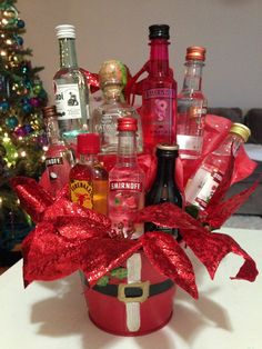 Nip Liquor Bouquet - I can see this for a special 21 YO's gift Alcohol Gift Baskets, Liquor Gift Baskets, Alcohol Gifts, Raffle Baskets, Theme Baskets, Wine Baskets, Christmas Gift Baskets, Homemade Christmas Gifts, Xmas Gifts