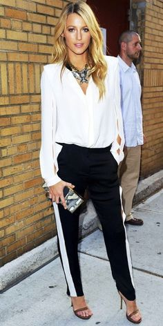 Black and white tux stripe.  Blake Lively. Blouse.  Statement necklace.