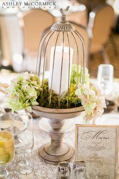 DIY Wedding • Centerpiece • Cage & Candle • Cascading Flowers • Green & White Theme • Urban Modern Wedding