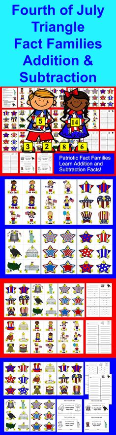 Fourth of July Math Activities-231 Subtraction Facts to 20 ...