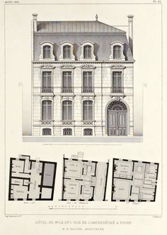 Elevation and floor plans of a hotel particulier, Tours