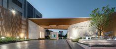 曼谷星座折线住宅 Astera Pride / Na Laan Studio Entrance Design, Gate Design, Entrance Gates, Main Entrance, Grand Entrance, Facade Architecture, Residential Architecture, Gate Way, Guard House