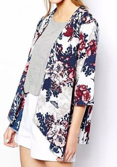 Multicolor Floral Seven's Sleeve Kimono