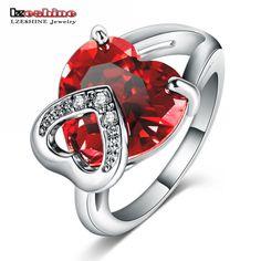 Lzeshine romantische weihnachten liebe geschenk weiblichen ring mode-accessoires heart shaped cz stein cocktail ringe/anillos cri0046-b
