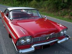1958 Plymouth Fury. Red sports cars make my heart melt. Just needs white leather seats.