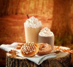 The perfect fall pairing is here. Pumpkin Spice and Salted Caramel Late doughnuts and coffees. Coffees are available hot, iced, or frozen.