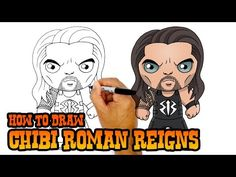Happy Friday everyone! Today we'll be showing you How to Draw Chibi Roman Reigns from the WWE. Our chibi drawing tutorials are simplified for young artists a. Easy Cartoon Drawings, Easy Drawings, Roman Reigns Drawing, Mysterio Wwe, Roman Reings, Simple Cartoon, Step By Step Drawing, Wwe Superstars, Happy Friday