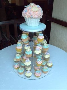 Pastel giant cupcake wedding tower + cakepops this would be perfect!