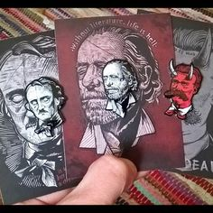 """Received delivery today of these 3 little beauties from @shopmilestogo """"EDGAR ALLAN POE"""" """"CHARLES BUKOWSKI"""" & """"FRIEDRICH NIETZSCHE GOD IS DEAD"""" All 3 are 1.5"""" Hard enamel w/2 posts on brilliant backing cards.  Link in their profile bio. Tagged in photo. I highly recommend visiting the store. You will not be disappointed.  These really are top drawer pins  Highly detailed & excellent quality  Reliable  fast UK delivery  I'm very happy with them - thanks folks !! #pindelivery #lapelpin…"""
