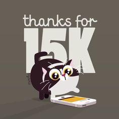 Pues eso, que mil gracias por seguirme y tocarme el corazón con vuestras patitas peludas 😹. #gracias #15k #thankyou #instagram #animation #illustration #heart #cat #love 😘❤️🙏🏻