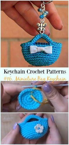 Crochet Miniature Bag Keychain Free Pattern Video - #Keychain #Crochet Patterns