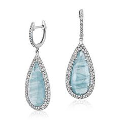 Aquamarine and Micropave Diamond Drop Earrings in 18k White Gold | Blue Nile
