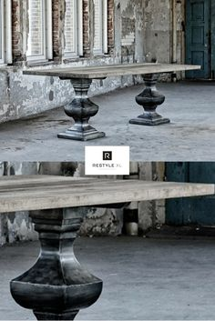 Wat een stoere eyecatcher is deze kloostertafel van oud hout!#restylexl #tafel #eettafel #tafels #oudhout #hout #houten #kloostertafel #robuuste