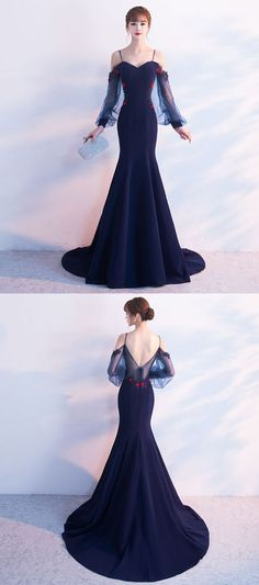 Long Sleeve Straps Mermaid Tulle Prom Dresses , Floor-Length Prom Dress, PDY0296