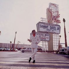 by Milton Greene / Sammy Davis JR. in posing in front of the Copa Room nightclub at the Sands Hotel in Las Vegas where Davis was a featuring act. Vegas Casino, Las Vegas Strip, Las Vegas Nevada, Hollywood Photo, Classic Hollywood, Photo Star, Milton Greene, Sands Hotel, Sammy Davis Jr