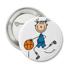 Stick figure girl baskeball player buttons. #basketball #buttons #stick figures