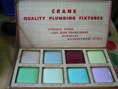 1940s salesman sample kit for Crane Plumbing tile, showing their color line for sinks, toilets, and bathtubs