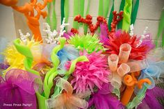 This coral reef would be a colorful and beautiful addition to any under the sea or mermaid party decorations. We used it for our VBS Ocean Commotion.