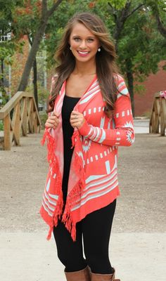 The Pink Lily Boutique - A Turning Point Fringe Cardigan, $42.00 (http://www.thepinklilyboutique.com/a-turning-point-fringe-cardigan/)