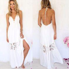 Sexy Open Back Crochet Women Beach Dress - Daisy Dress For Less