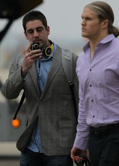 aaron rodgers  clay matthews. don't know that any more beauty could fit into this picture.. (: