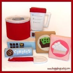 MIXING SET - PDF Felt Food Pattern (Mixer, Blender, Cake Mix, Brownie Mix, Cinnamon Rolls, Spatula)
