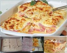 Simple, quick and tasty: Baked toasted bread with ham and cheese – delicious! Simple, quick and tasty: Baked toasted bread with ham and cheese – delicious! Pizza Recipes, Cooking Recipes, Healthy Recipes, Tasty, Yummy Food, Portuguese Recipes, Ham And Cheese, Baked Cheese, Pasta Recipes